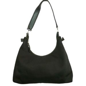 Salvatore Ferragamo Black Canvas Hobo Bag